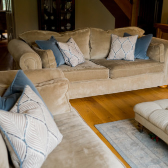 Upholstered sofa and cushions